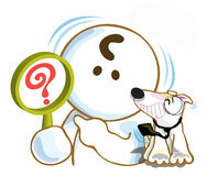Confuse question mark. He show confuse sign and Bull Terrier dog big smile say agree and have tie pointing to confuse sign too vector illustration