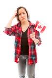 Confused женщина с держать флаг Канады Стоковое Фото
