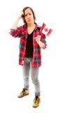 Confused женщина с держать флаг Канады Стоковое Изображение