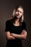 Confused предназначенная для подростков школьница стоковое фото