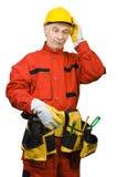 Confused рабочий-строитель Стоковое Изображение