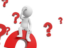 The confused. 3d people is thinking in a pile of question marks Royalty Free Stock Photography