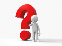 The confused. 3d people stand in front question mark Royalty Free Stock Photo