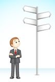 Confused 3d Business Man. Illustration of 3d confused business man in vector fully scalable standing near direction board Royalty Free Stock Photo