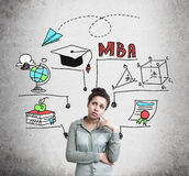 Confused African American woman and MBA education. Confused African American woman wearing a green shirt is thinking about her future and career near a concrete Royalty Free Stock Images