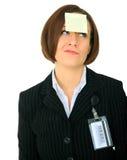 confused anmärkning för blank affärskvinna arkivfoto