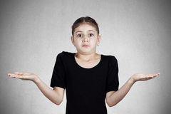 Confused, annoyed little girl stock image