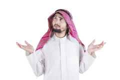 Confused Arabic Person in Studio. Confused Arabic man thinking idea,  on white background Royalty Free Stock Images