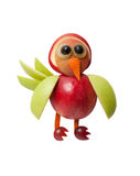 Confused bird made of apple Royalty Free Stock Image