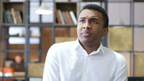 Confused Black Man in Office stock video footage