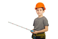 Confused boy holding ruler Stock Photography