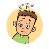 Confused boy seeing spinning stars. Loss of consciousness flat design icon. Flat vector illustration. Isolated on white. Confused boy seeing spinning stars. Loss vector illustration