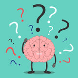 Confused brain character thinking Stock Photography