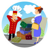 Confused business bellhop Royalty Free Stock Photos