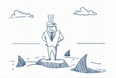 Confused Business Man Doodle Standing On Rock With Sharks Around Danger And Crisis Concept. Vector Illustration Stock Image