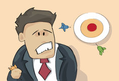 Confused Business Man Looking At Target Aiming Wrong Think Problem Solution. Vector Illustration Stock Photos