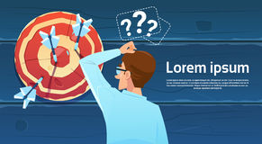 Confused Business Man Standing Back Looking At Target Aim Question Mark Think Problem Solution. Flat Vector Illustration Royalty Free Stock Photography