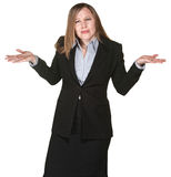 Confused Business Woman. With hands in the air Royalty Free Stock Image