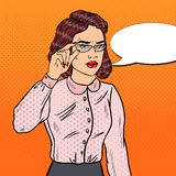 Confused Business Woman in Eyeglasses. Pop Art illustration Stock Image