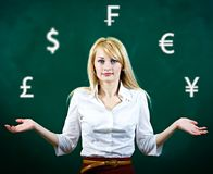 Confused, business woman uncertain about currency investment Stock Images