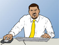 Confused Businessman. This hand-drawn illustration shows a confused businessman working at a computer station. It appears that he has just read a frustrating royalty free illustration