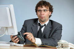 Confused businessman. Horizontal image of confused businessman Stock Photos