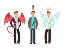 Confused businessman with angel and devil over shoulders. Choose vector concept vector illustration