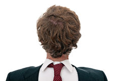 Confused businessman back to front, over white Royalty Free Stock Photo
