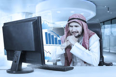 Confused businessman with declining business graphs. Image of middle eastern businessman looks confused with a virtual declining business graph on the monitor Royalty Free Stock Photo