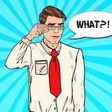 Confused Businessman in Eyeglasses. Pop Art illustration Stock Image