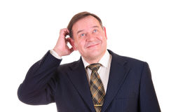 Confused businessman with gesture Royalty Free Stock Image
