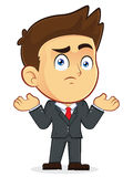 Confused Businessman Gesturing. Clipart Picture of a Confused Gesturing Male Businessman Cartoon Character Stock Image