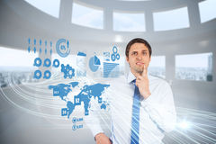 Confused businessman with global interface Stock Images