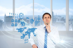 Confused businessman with global interface Stock Photo