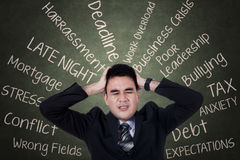 Confused businessman having problems Royalty Free Stock Photos
