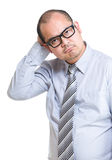 Confused businessman. Isolated on white background Stock Photos