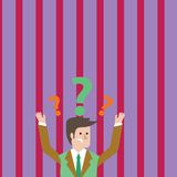 Man in Business Suit Raising Both Arms Upward Looking Confused and Question Marks Above his Head. Creative Background. Confused Businessman Raising Both Arms vector illustration