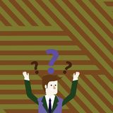 Man in Business Suit Raising Both Arms Upward Looking Confused and Question Marks Above his Head. Creative Background. Confused Businessman Raising Both Arms stock illustration
