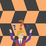 Man in Business Suit Raising Both Arms Upward Looking Confused and Question Marks Above his Head. Creative Background. Confused Businessman Raising Both Arms royalty free illustration