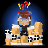 Confused businessman sitting on pile of documents. Confused businessman with question mark sitting on stack of paperwork Stock Images