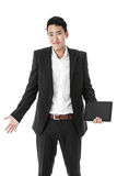 Confused Businessman with a Tablet Royalty Free Stock Photography