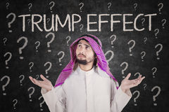 Confused businessman with Trump Effect word Stock Image