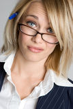 Confused Businesswoman. Confused blond business woman closeup Royalty Free Stock Photo