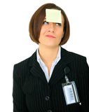 Confused Businesswoman With Blank Note Stock Photo