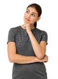 Confused Businesswoman With Hand On Chin Royalty Free Stock Photography