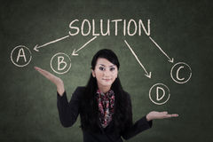 Confused businesswoman to choose solution Stock Photo