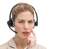 Confused call center agent stock photos