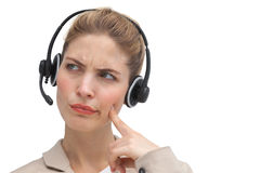 Confused call center agent Stock Photography