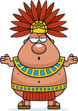 Confused Cartoon Aztec King Stock Images