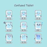 Confused cartoon digital tablet pc Stock Photo